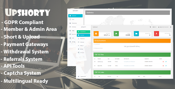 Upshorty: Make Money from Upload files & short links